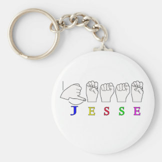 JESSE NAME SIGN ASL FINGERSPELLED BASIC ROUND BUTTON KEYCHAIN