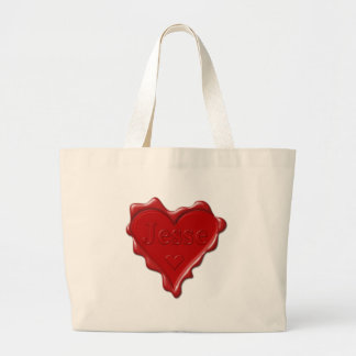 Jesse. Red heart wax seal with name Jesse Large Tote Bag