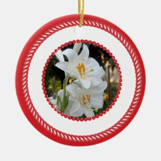 Jesse Tree White Madonna Lily Ornament #2