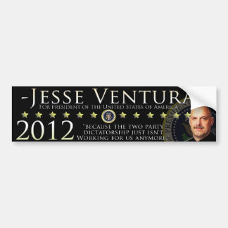 Jesse Ventura 2012 Bumper Sticker - Black