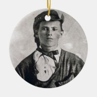 Jesse Woodson James (b/w photo) Double-Sided Ceramic Round Christmas Ornament