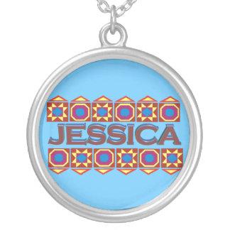 Jessica Abstract art southwestern over lightblue Round Pendant Necklace