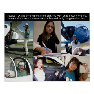 Jessica Cox - First Pilot 2 Fly Airplane With Feet Poster