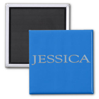 Jessica Custom Raised Silver Name Magnet