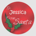 Jessica personalizó etiquetas del regalo del acebo pegatina redonda
