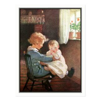 Jessie Willcox Smith - Vintage Boy and Baby Postcard