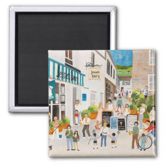 Jessies Dairy in Mousehole 2 Inch Square Magnet