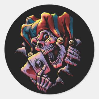 Jester Card Player Round Sticker