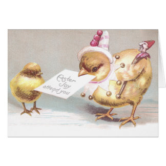 Jester Chick with Marotte Vintage Easter Cards