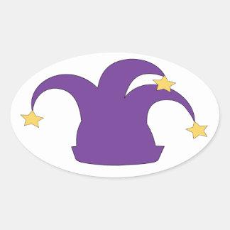 Jester Hat on Clean Background Oval Sticker