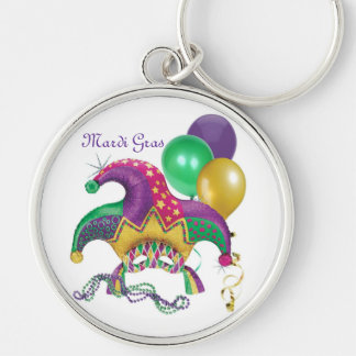 Jester Silver-Colored Round Keychain