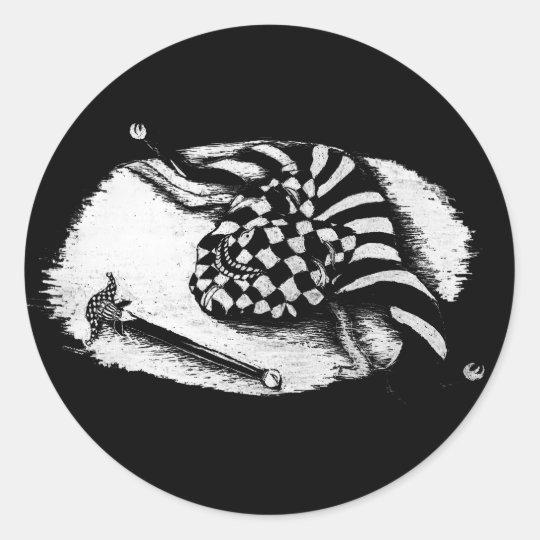 Jester Mask Classic Round Sticker