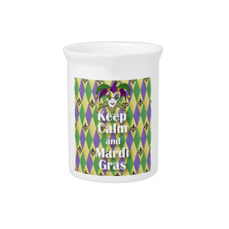 Jester Mask Keep Calm and Mardi Gras Drink Pitchers