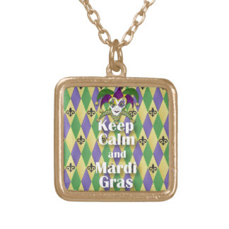 Jester Mask Keep Calm and Mardi Gras Gold Plated Necklace