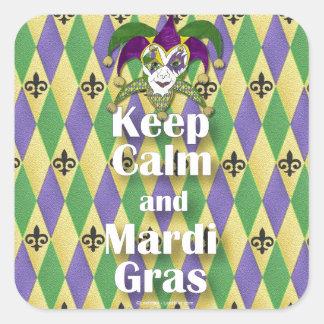Jester Mask Keep Calm and Mardi Gras Square Sticker