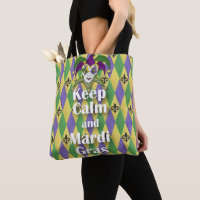 Jester Mask Keep Calm and Mardi Gras Tote Bag