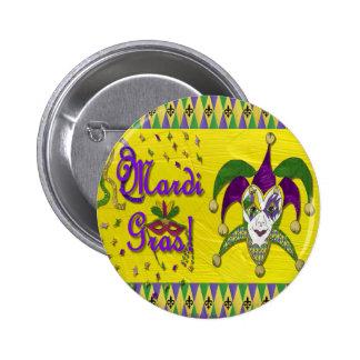 Jester Mask Mardi Gras Harlequin 2 Inch Round Button