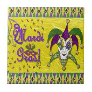 Jester Mask Mardi Gras Harlequin Ceramic Tile