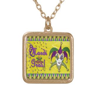 Jester Mask Mardi Gras Harlequin Gold Plated Necklace