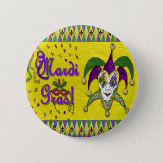 Jester Mask Mardi Gras Harlequin Pinback Button