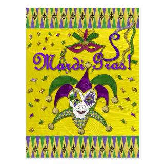 Jester Mask Mardi Gras Harlequin Postcard