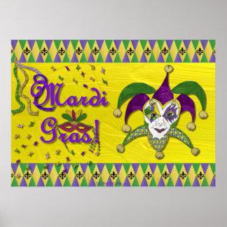 Jester Mask Mardi Gras Harlequin Poster