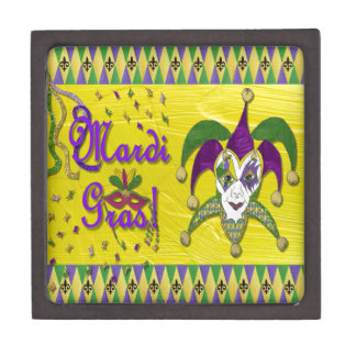 Jester Mask Mardi Gras Harlequin Premium Jewelry Box
