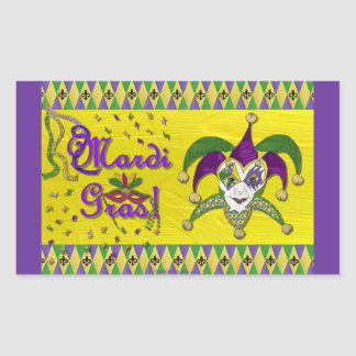 Jester Mask Mardi Gras Harlequin Rectangular Sticker