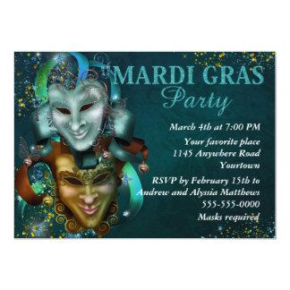 """Jester Masks Mardi Gras Party Invite 5"""" X 7"""" Invitation Card"""