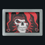 "Jester of Love Belt Buckle<br><div class=""desc"">Jester skull dressed in red with hearts is ready to spread love.</div>"