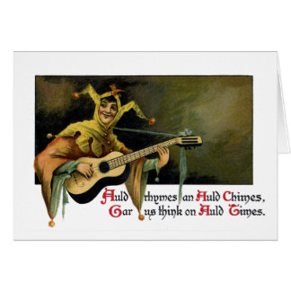 Jester Playing Guitar Vintage New Year's Day Card