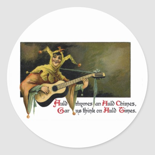 Jester Playing Guitar Vintage New Year's Day Classic Round Sticker