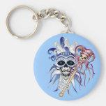 Jester Skull Basic Round Button Keychain