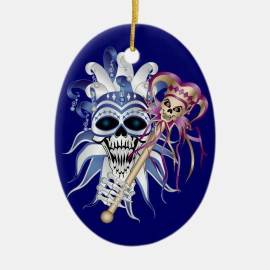 Jester Skull Ceramic Ornament