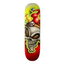 jester, clown, skull, head, skeleton, colorful, evil, face, Skateboard with custom graphic design