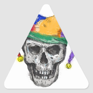 Jester Skull Laughing Tattoo Triangle Sticker