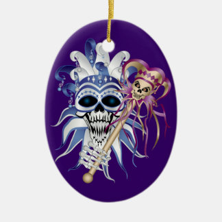 Jester Skull Double-Sided Oval Ceramic Christmas Ornament