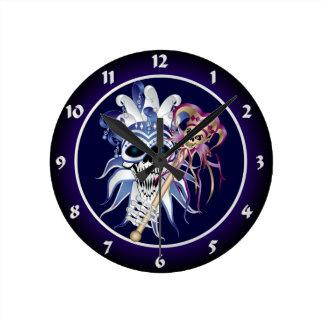 Jester Skull Round Clock