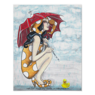Jester With Umbrella + Rubber Ducky Art Posters