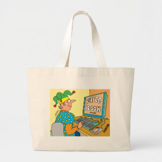 "Jester's Computer Screen Reads As ""Farce Book"" Tote Bags"