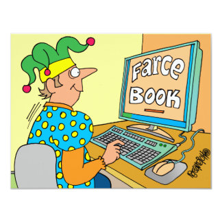 "Jester's Computer Screen Reads As ""Farce Book"" Card"