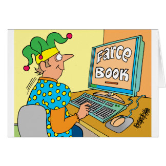 """Jester's Computer Screen Reads As """"Farce Book"""" Greeting Card"""