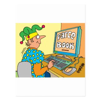 "Jester's Computer Screen Reads As ""Farce Book"" Postcard"