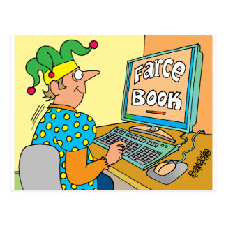 "Jester's Computer Screen Reads As ""Farce Book"" Postcard"