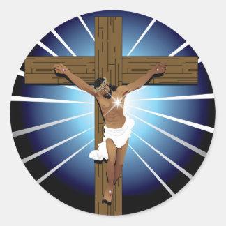 Jesucristo abstracto pegatina redonda