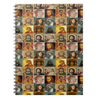 Jesucristo, collage del vintage, antigüedad, libreta espiral