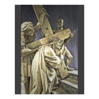 Jesucristo con el aviador cruzado tarjetas informativas