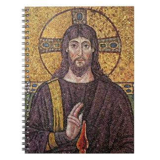 Jesucristo con el mosaico de la llama del Espíritu Libros De Apuntes Con Espiral