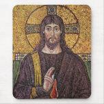 Jesucristo con el mosaico de la llama del Espíritu Tapete De Ratón