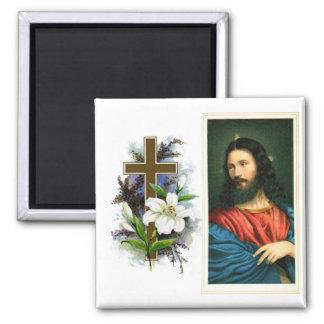 Jesucristo con la cruz y Pascua Lilly Imán Para Frigorifico